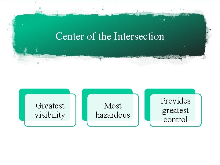 Center of the Intersection Greatest visibility Most hazardous Provides greatest control