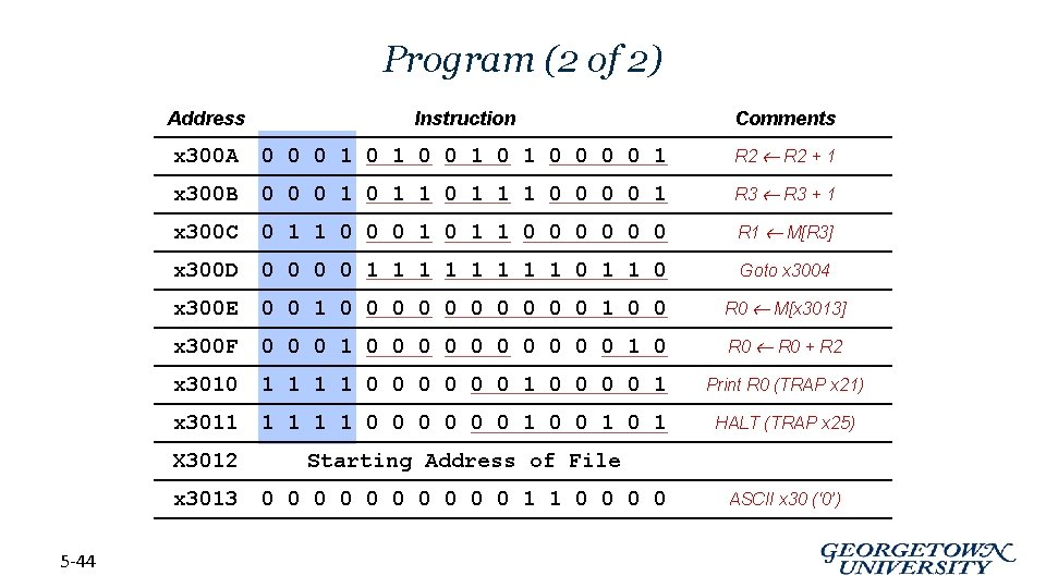 Program (2 of 2) 5 -44 Address Instruction Comments x 300 A 0 0