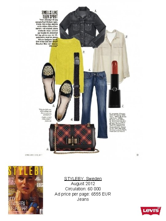 STYLEBY, Sweden August 2012 Circulation: 60 000 Ad price per page: 6555 EUR Jeans