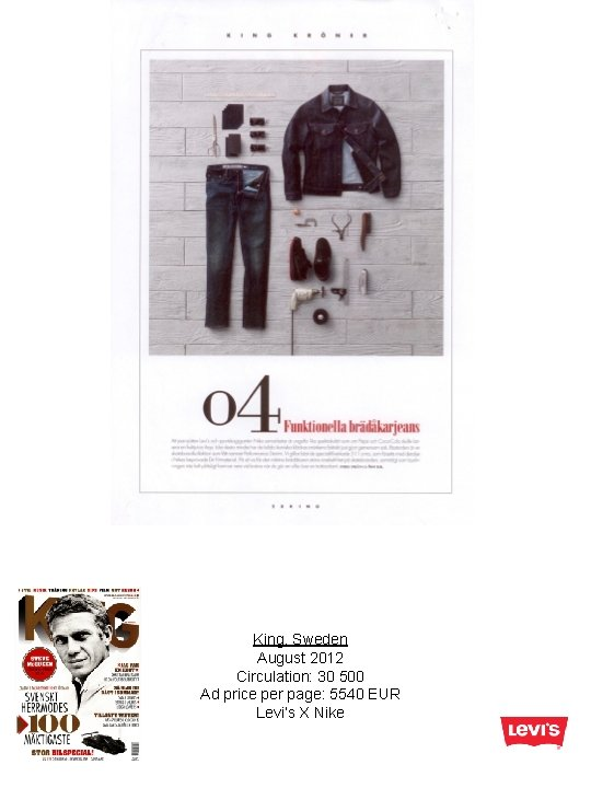 King, Sweden August 2012 Circulation: 30 500 Ad price per page: 5540 EUR Levi's