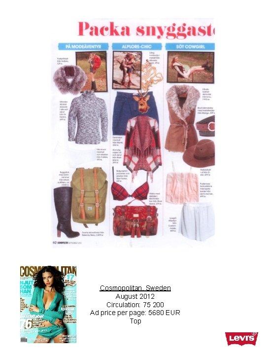 Cosmopolitan, Sweden August 2012 Circulation: 75 200 Ad price per page: 5680 EUR Top
