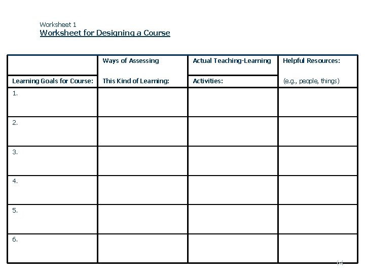 Worksheet 1 Worksheet for Designing a Course Learning Goals for Course: Ways of Assessing