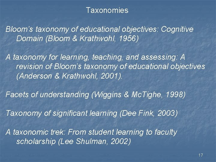 Taxonomies Bloom's taxonomy of educational objectives: Cognitive Domain (Bloom & Krathwohl, 1956) A taxonomy
