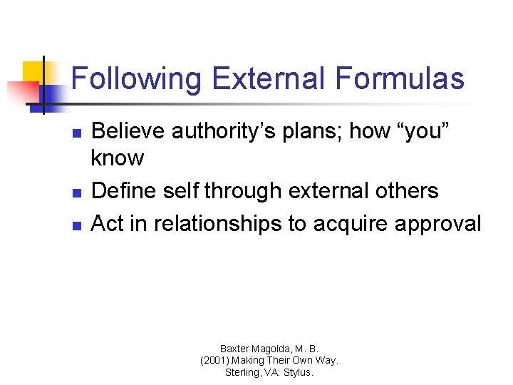 "Following External Formulas n n n Believe authority's plans; how ""you"" know Define self"