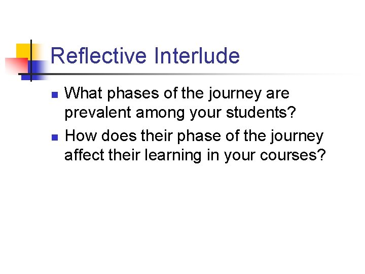 Reflective Interlude n n What phases of the journey are prevalent among your students?