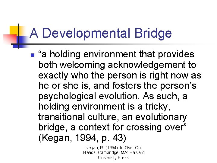 """A Developmental Bridge n """"a holding environment that provides both welcoming acknowledgement to exactly"""