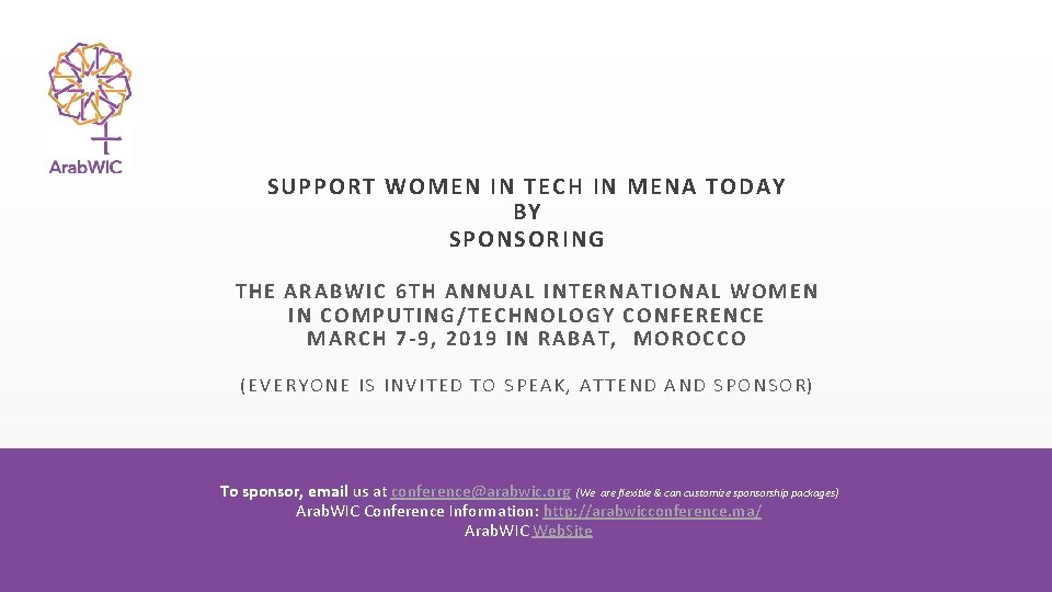 SUPPORT WOMEN IN TECH IN MENA TODAY BY SPONSORING THE ARAB WIC 6 T