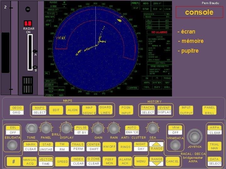Pem Baudu 2 console RADAR ON - écran - mémoire - pupitre A B