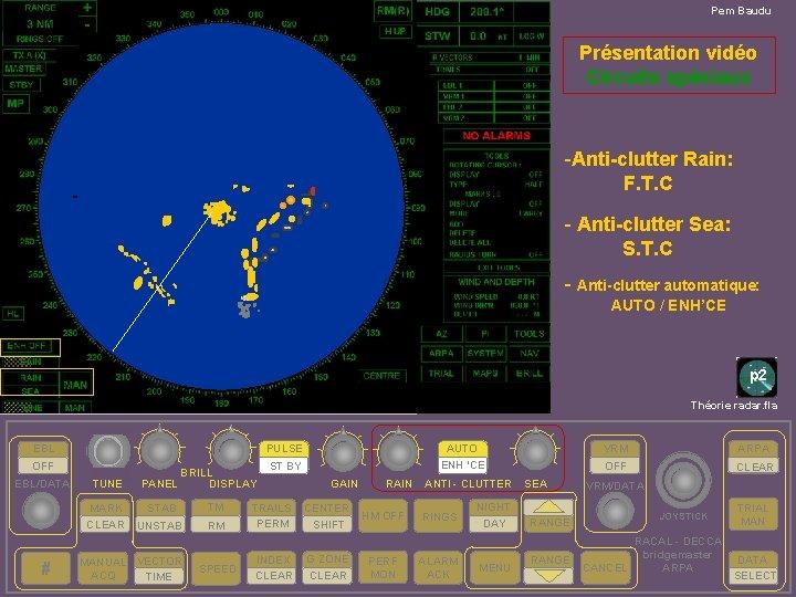 Pem Baudu Présentation vidéo Circuits spéciaux -Anti-clutter Rain: F. T. C - Anti-clutter Sea: