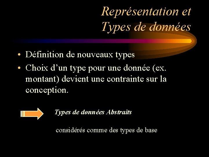 Représentation et Types de données • Définition de nouveaux types • Choix d'un type