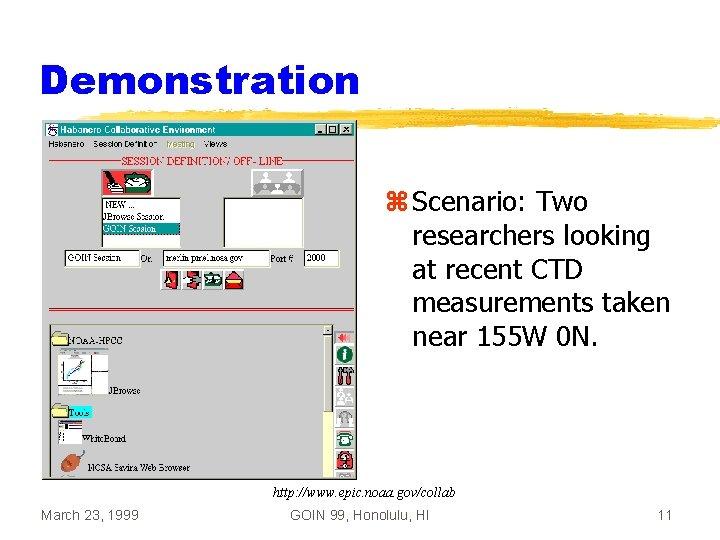Demonstration z Scenario: Two researchers looking at recent CTD measurements taken near 155 W