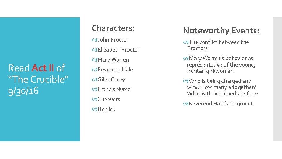 Characters: Noteworthy Events: John Proctor The conflict between the Proctors Elizabeth Proctor Read Act