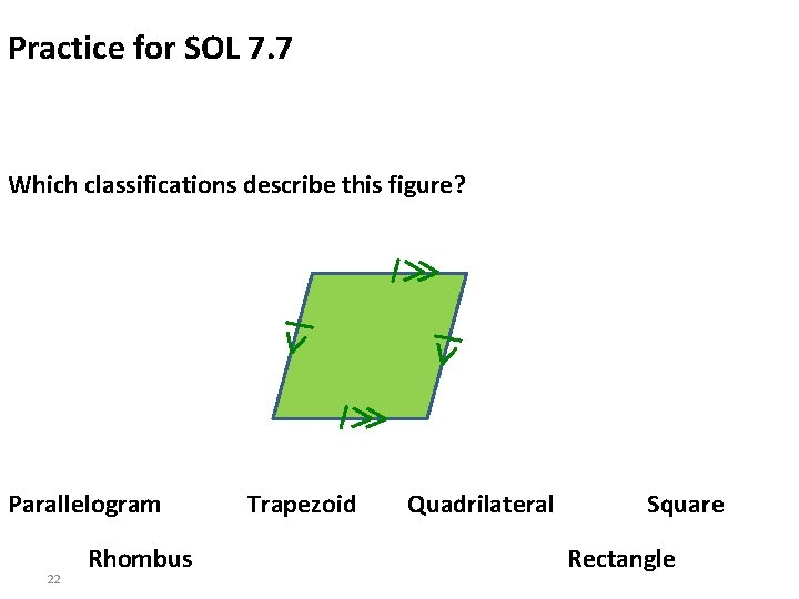 Practice for SOL 7. 7 Which classifications describe this figure? Parallelogram 22 Rhombus Trapezoid