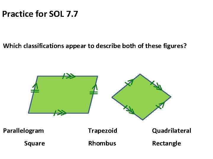 Practice for SOL 7. 7 Which classifications appear to describe both of these figures?