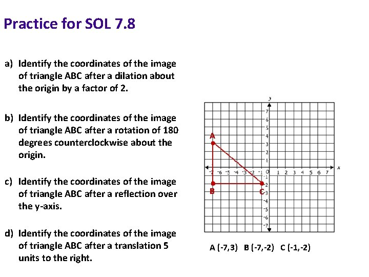 Practice for SOL 7. 8 a) Identify the coordinates of the image of triangle