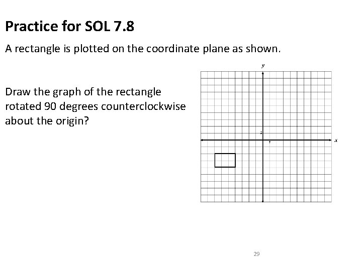 Practice for SOL 7. 8 A rectangle is plotted on the coordinate plane as