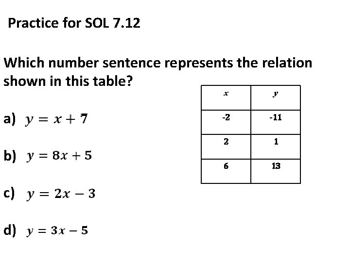 Practice for SOL 7. 12 Which number sentence represents the relation shown in this