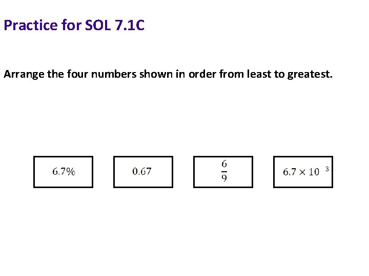 Practice for SOL 7. 1 C Arrange the four numbers shown in order from