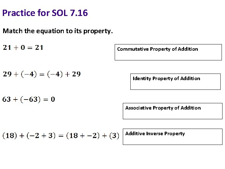 Practice for SOL 7. 16 Match the equation to its property. Commutative Property of