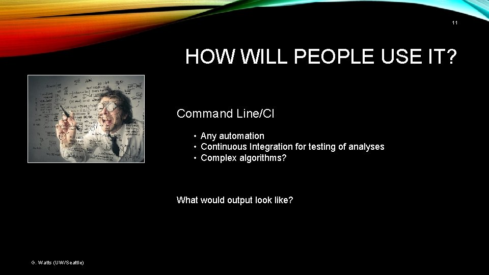 11 HOW WILL PEOPLE USE IT? Command Line/CI • Any automation • Continuous Integration