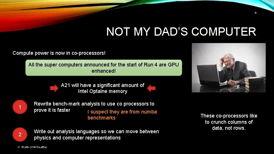 9 NOT MY DAD'S COMPUTER Compute power is now in co-processors! All the super