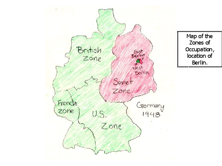 Map of the Zones of Occupation, location of Berlin.