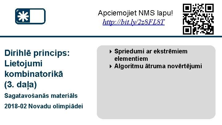 Apciemojiet NMS lapu! http: //bit. ly/2 z 8 FL 8 T Dirihlē princips: Lietojumi