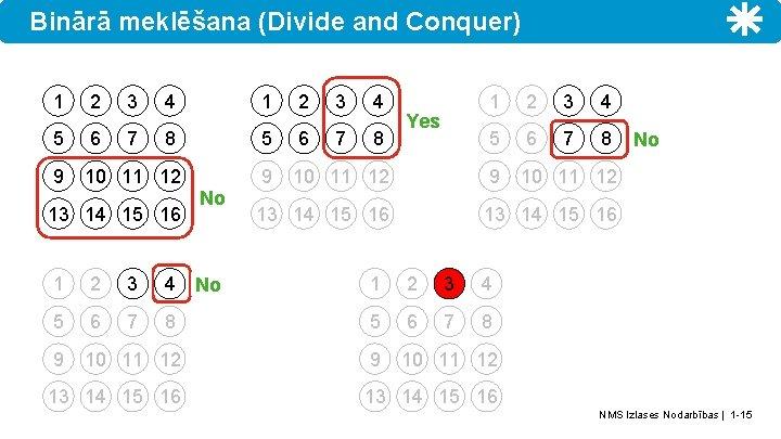 Binārā meklēšana (Divide and Conquer) 1 2 3 4 5 6 7 8 9