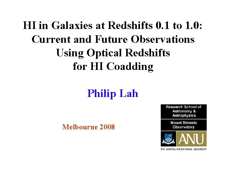 HI in Galaxies at Redshifts 0. 1 to 1. 0: Current and Future Observations