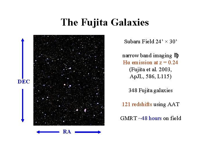 The Fujita Galaxies Subaru Field 24' × 30' narrow band imaging Hα emission at