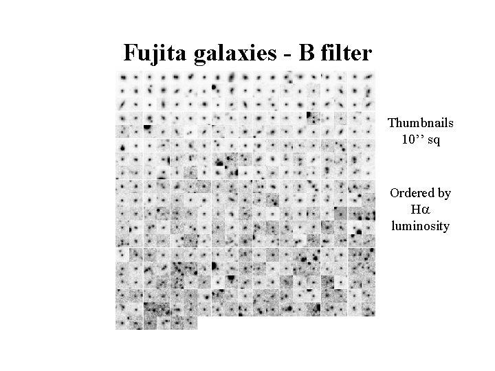 Fujita galaxies - B filter Thumbnails 10'' sq Ordered by H luminosity