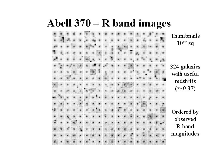 Abell 370 – R band images Thumbnails 10'' sq 324 galaxies with useful redshifts