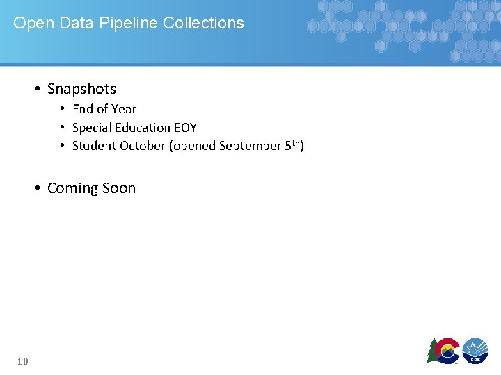Open Data Pipeline Collections • Snapshots • End of Year • Special Education EOY