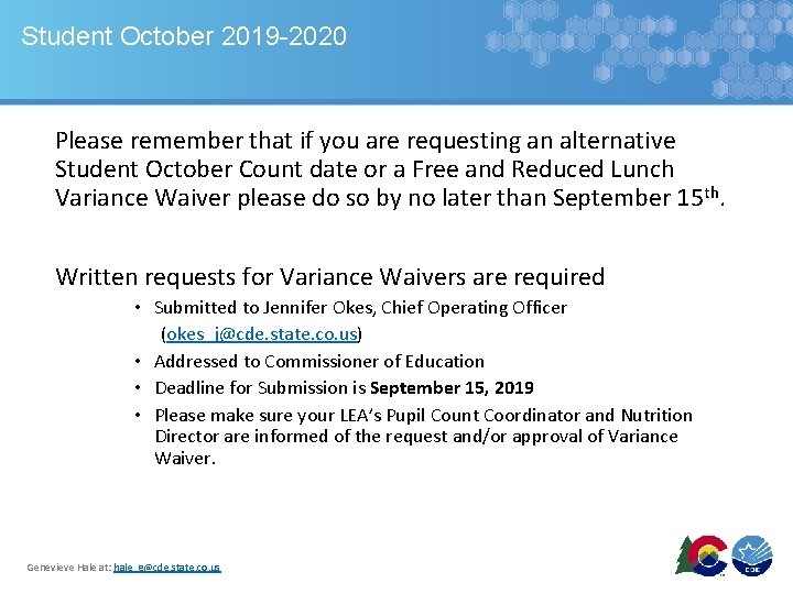 Student October 2019 -2020 Please remember that if you are requesting an alternative Student