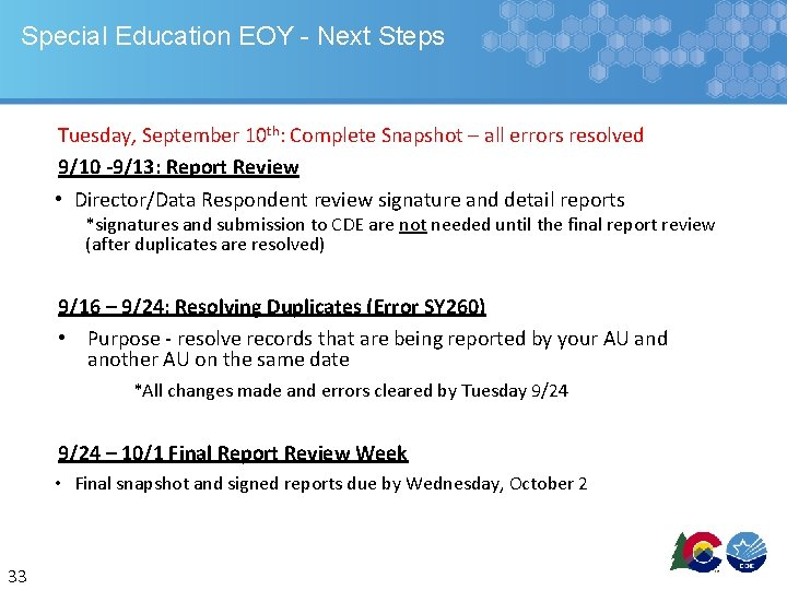 Special Education EOY - Next Steps Tuesday, September 10 th: Complete Snapshot – all