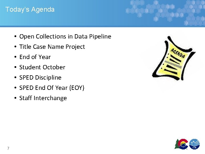 Today's Agenda • • 7 Open Collections in Data Pipeline Title Case Name Project