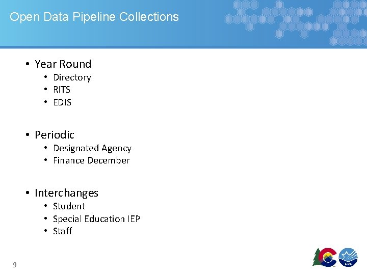 Open Data Pipeline Collections • Year Round • Directory • RITS • EDIS •