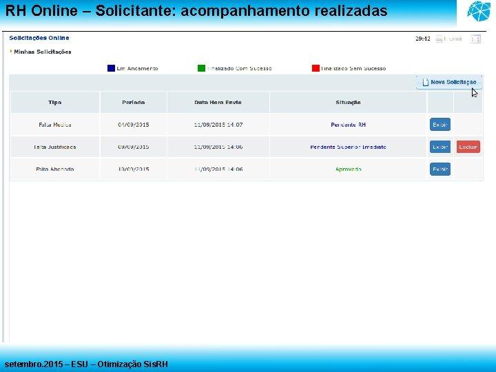 RH Online – Solicitante: acompanhamento realizadas setembro. 2015 – ESU – Otimização Sis. RH