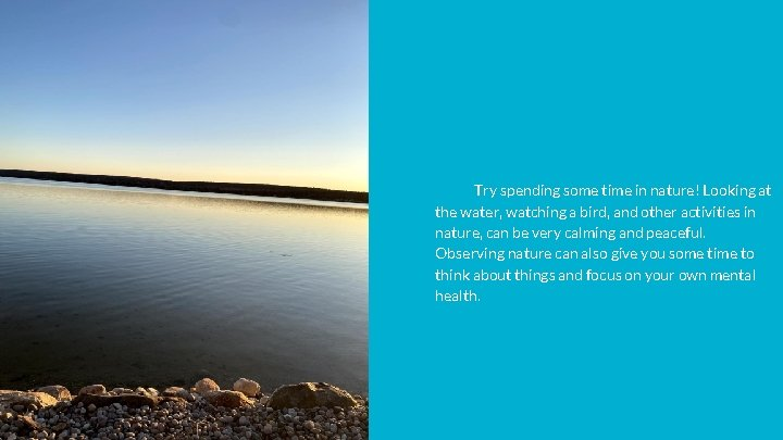Try spending some time in nature! Looking at the water, watching a bird, and