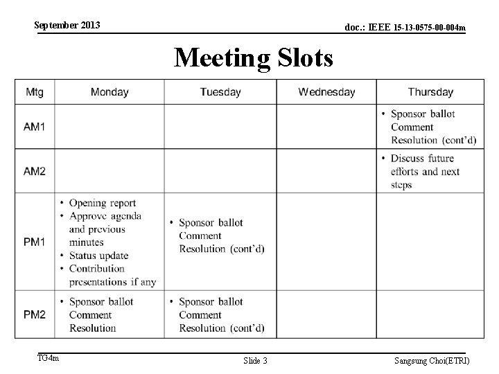 September 2013 doc. : IEEE 15 -13 -0575 -00 -004 m Meeting Slots TG