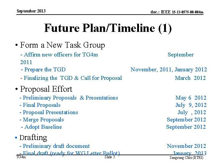 September 2013 doc. : IEEE 15 -13 -0575 -00 -004 m Future Plan/Timeline (1)