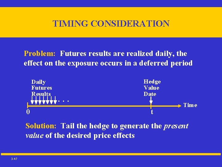 TIMING CONSIDERATION Problem: Futures results are realized daily, the effect on the exposure occurs