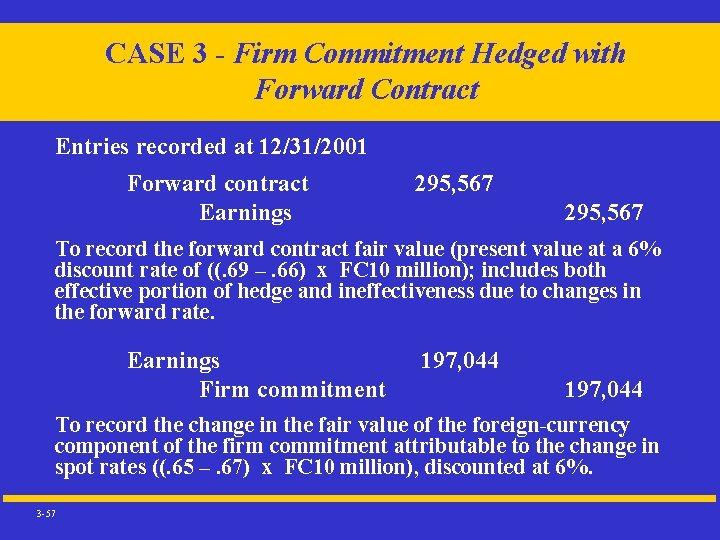 CASE 3 - Firm Commitment Hedged with Forward Contract Entries recorded at 12/31/2001 Forward