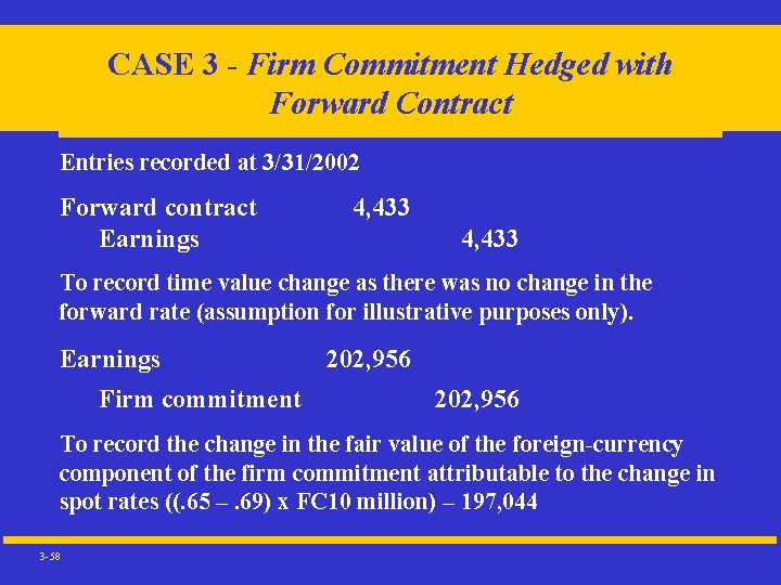 CASE 3 - Firm Commitment Hedged with Forward Contract Entries recorded at 3/31/2002 Forward