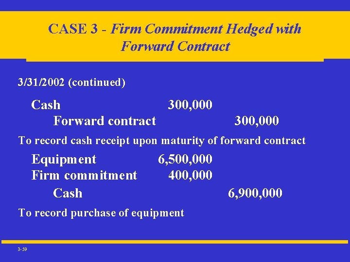 CASE 3 - Firm Commitment Hedged with Forward Contract 3/31/2002 (continued) Cash 300, 000