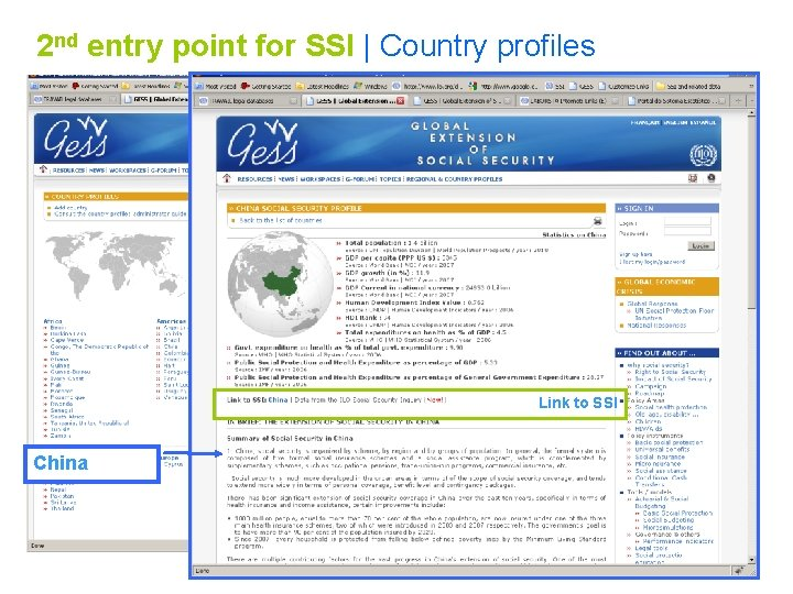 2 nd entry point for SSI   Country profiles Link to SSI China