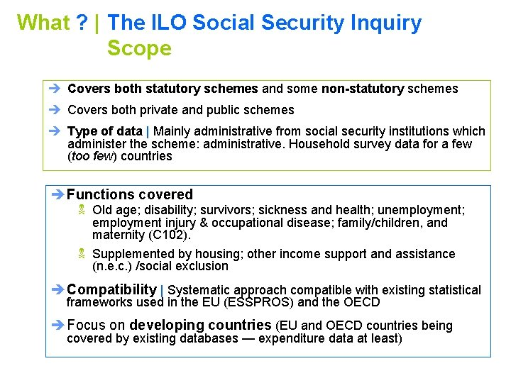 What ?   The ILO Social Security Inquiry Scope è Covers both statutory schemes