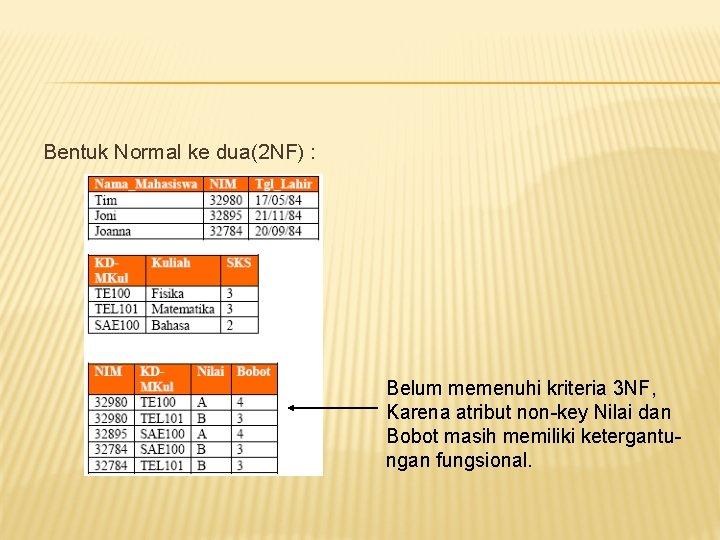 Bentuk Normal ke dua(2 NF) : Belum memenuhi kriteria 3 NF, Karena atribut non-key