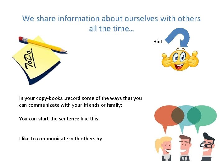 We share information about ourselves with others all the time… Hint In your copy-books…record