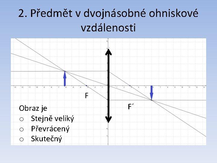 2. Předmět v dvojnásobné ohniskové vzdálenosti Obraz je o Stejně veliký o Převrácený o
